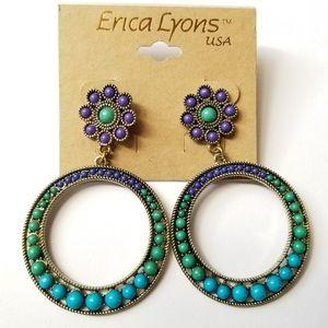 Erica Lyons flower hoop earrings gold purple blue